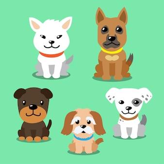 Conjunto de desenhos animados vetor de cães