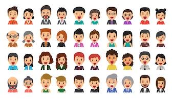 Conjunto de desenhos animados vetor de diversos ícones de avatar de pessoas felizes