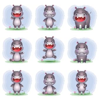Conjunto de desenhos animados vetor de hipopótamo fofo