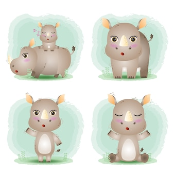 Conjunto de desenhos animados vetor de rinoceronte fofo