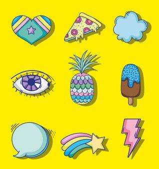 Conjunto de desenhos coloridos de arte pop
