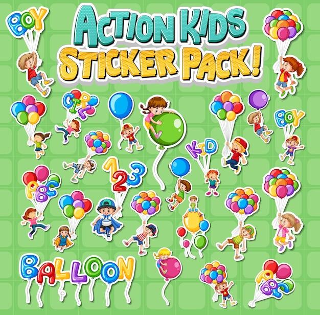 Conjunto de desenhos de adesivos com crianças fazendo atividades diferentes