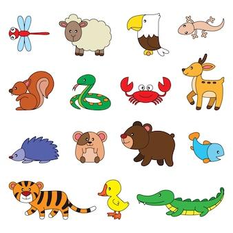 Conjunto de desenhos de animais simples