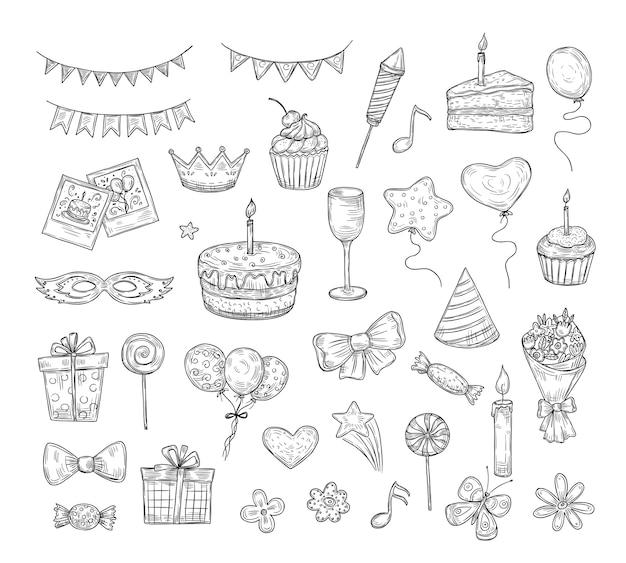 Conjunto de desenhos de aniversário