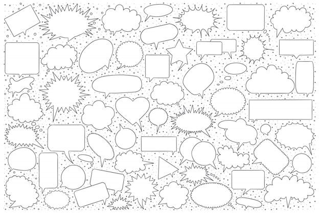 Conjunto de desenhos de bolha do discurso