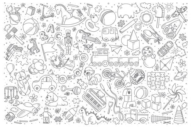 Conjunto de desenhos de brinquedos