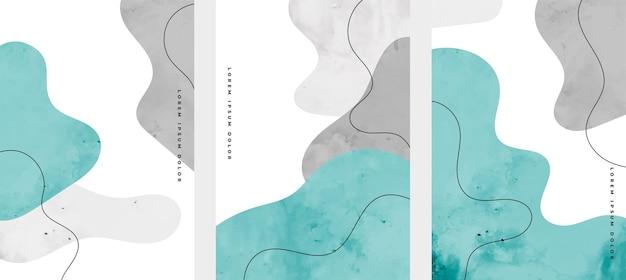 Conjunto de desenhos de capas abstratos pintados à mão