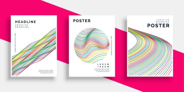 Conjunto de desenhos de cartaz de folheto colorido linhas onduladas