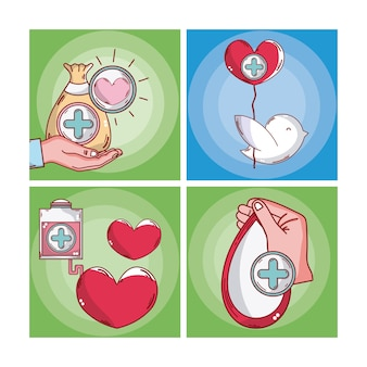 Conjunto de desenhos de cartões de sangue doar