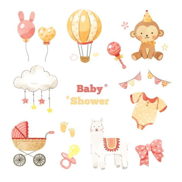 Conjunto de desenhos de chá de bebê