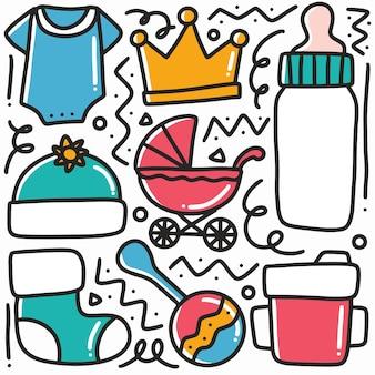 Conjunto de desenhos de coleção de coisas de bebê desenhado à mão com ícones e elementos de design