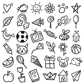 Conjunto de desenhos de crianças desenhadas à mão, desenho infantil em preto e branco, jardim de infância