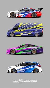 Conjunto de desenhos de decalque de carro