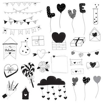 Conjunto de desenhos de dia dos namorados doodle preto e branco