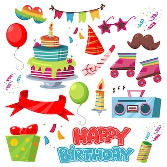 Conjunto de desenhos de elementos de festa de feliz aniversário isolado