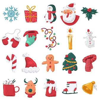 Conjunto de desenhos de elementos de natal