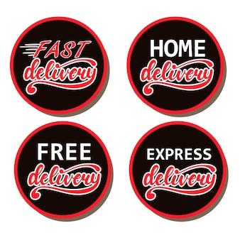 Conjunto de desenhos de emblemas com letras de entrega rápida, gratuita, domiciliar, express. ilustração do vetor.