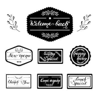 Conjunto de desenhos de emblemas com letras para menus de café. ilustração vetorial.