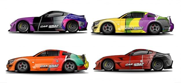 Conjunto de desenhos de envoltório de carro colorido simples