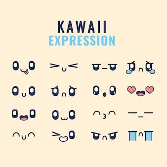 Conjunto de desenhos de expressões kawaii