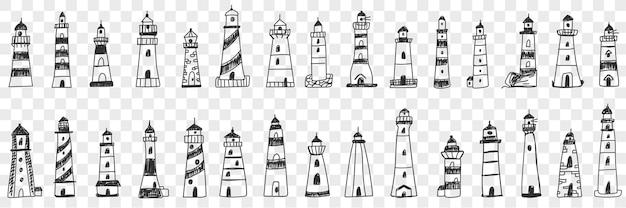 Conjunto de desenhos de faróis no mar