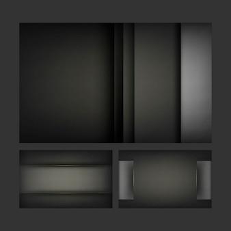 Conjunto de desenhos de fundo abstrato em preto