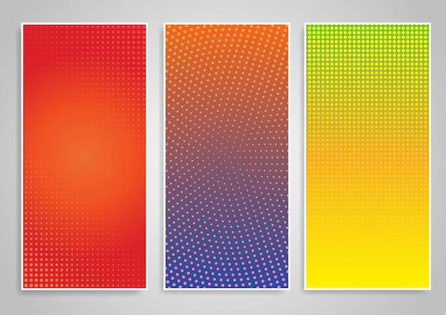 Conjunto de desenhos de fundo vertical de ponto de meio-tom
