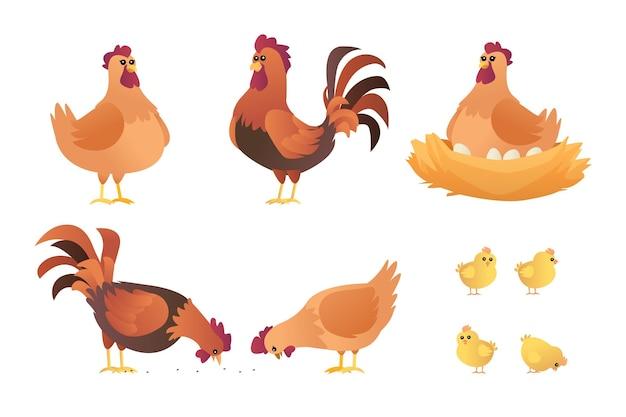 Conjunto de desenhos de galos, galinhas e pintinhos