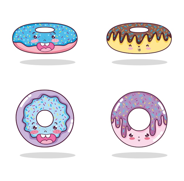 Conjunto de desenhos de kawaii