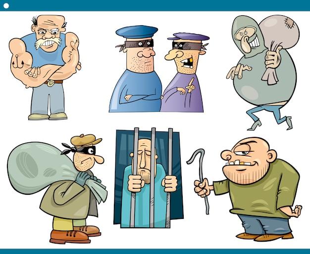 Conjunto de desenhos de ladrões e bandidos