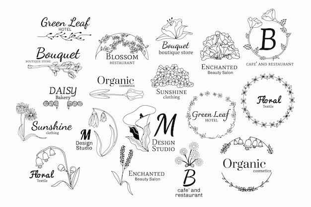 Conjunto de desenhos de logotipo floral