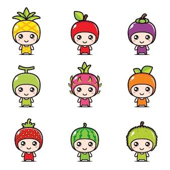Conjunto de desenhos de mascote de fruta bonito