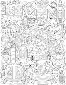 Conjunto de desenhos de móveis, abajures de sofá, mesa, velas, copos, incolor, desenho, linhas, interior, casa