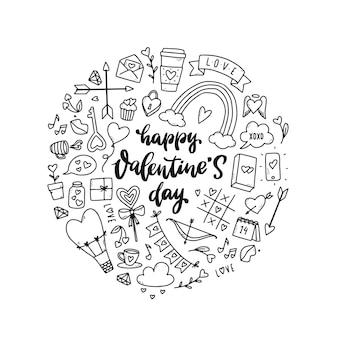 Conjunto de desenhos de rabiscos do dia dos namorados