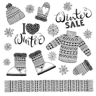 Conjunto de desenhos de roupas de lã e calçados.