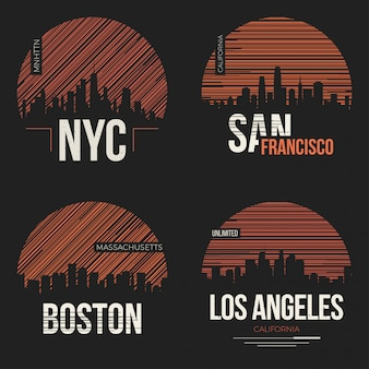 Conjunto de desenhos de t-shirt conosco silhuetas de cidades