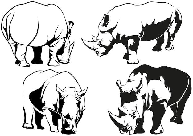 Conjunto de desenhos de tatuagem de rinoceronte