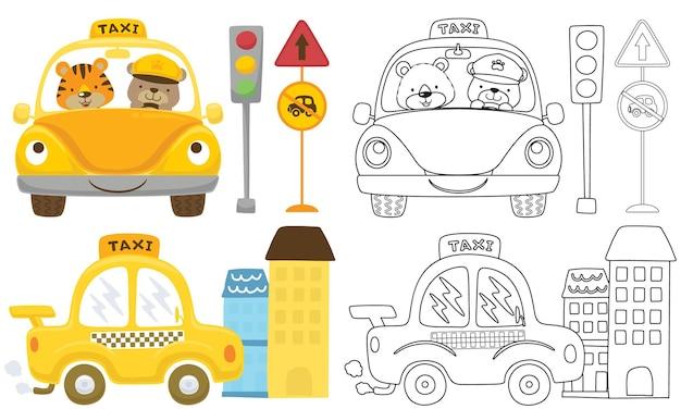 Conjunto de desenhos de veículos com animais fofos