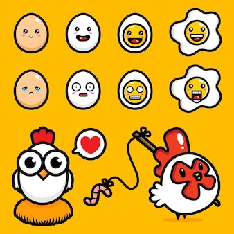 Conjunto de desenhos de vetor de frango e ovo