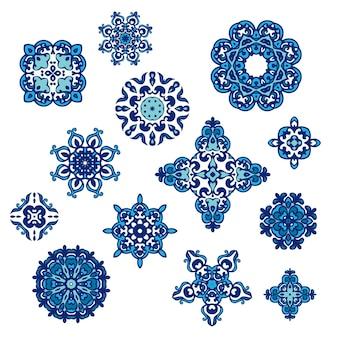 Conjunto de desenhos decorativos abstratos de damasco do gráfico de vetor. padrão real de luxo. telhas ornamentais de design vintage. padrão de damasco vetor. elementos abstratos florais elegantes
