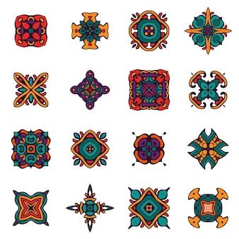 Conjunto de desenhos decorativos abstratos de damasco do gráfico de vetor. padrão real de luxo. telhas ornamentais tribais étnicas de projeto vintage. elementos abstratos elegantes com padrão de damasco