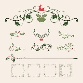 Conjunto de desenhos decorativos de natal para vetor de cartões