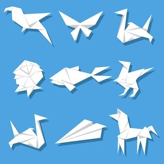 Conjunto de desenhos em origami de papel
