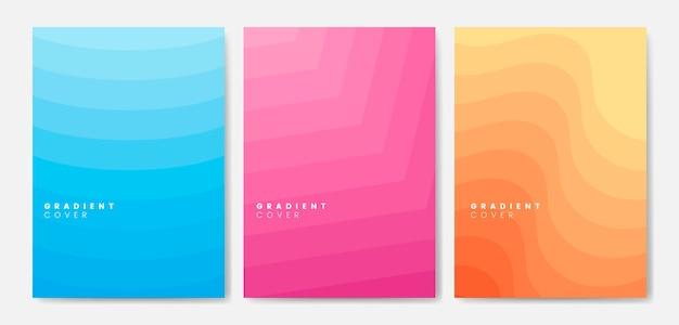 Conjunto de desenhos gráficos de capa de gradiente
