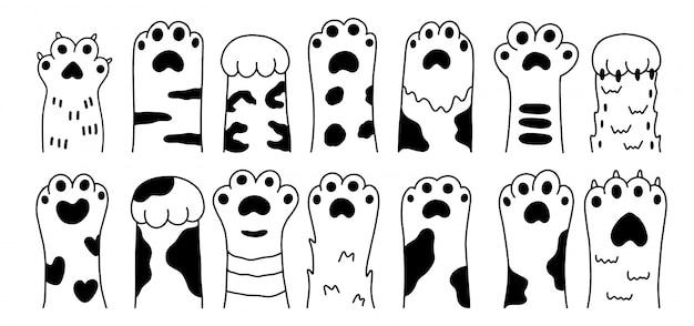 Conjunto de desenhos isolados gráficos preto esboço pata animais de estimação