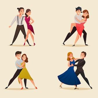 Conjunto de desenhos retrô de pares de dança