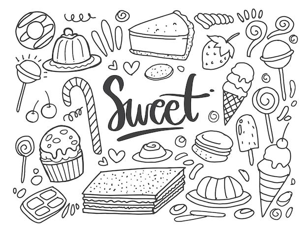 Conjunto de desenhos sobre os bolos temáticos. bolos, tortas, pães, sobremesas, doces, sorvetes, muffins e outros produtos de confeitaria. ilustração vetorial