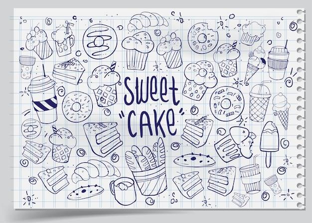 Conjunto de desenhos sobre os bolos temáticos. bolos, tortas, pão, biscoitos e outros produtos de confeitaria. ilustração vetorial