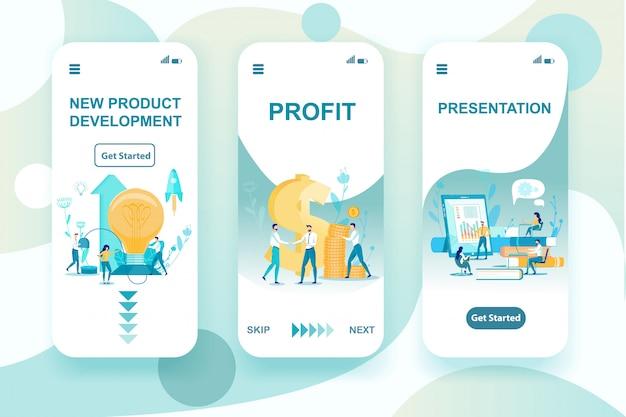 Conjunto de desenvolvimento de novos produtos, ilustração vetorial