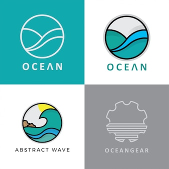 Conjunto de design abstrato do logotipo do oceano